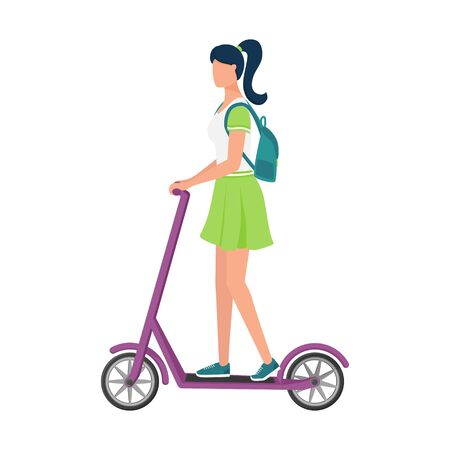 A young woman in a skirt and a backpack rides a scooter. Eco-friendly urban transport. Vehicle for transportation in the city.Sports outdoor activity. Flat vector illustration isolated on white