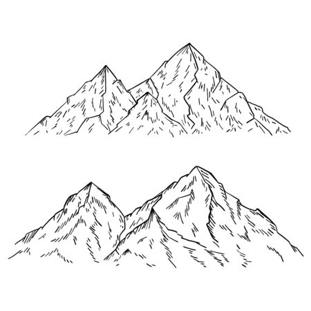 Mountains and Rock peaks in sketch style. Mountain landscape. Engraved drawing. Vector outdoor background. Hand drawn and isolated on white. Black and white illustration