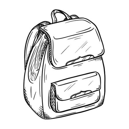 Sketch of a women's backpack with magnetic fasteners. Stylish, fashionable bag for girls. Personal accessory. Black and white vector illustration. Hand drawn, isolated on a white background. Doodle.