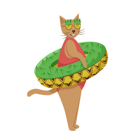 Summer character.Cat in a bathing suit with a lifebuoy on the belt. Inflatable circle with a pineapple pattern. sunglasses of pineapple.Cute animal character.Isolated on a white background.Flat style.