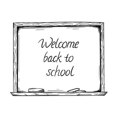 Sketch of a blackboard with the words Back to school.There are chalk marks on the Board.The sheet with notes is attached with a button. space for text.Vector illustration hand-drawn,isolated on white. Ilustrace