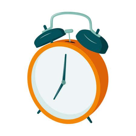 Retro alarm clock with a hammer, 7 o clock.
