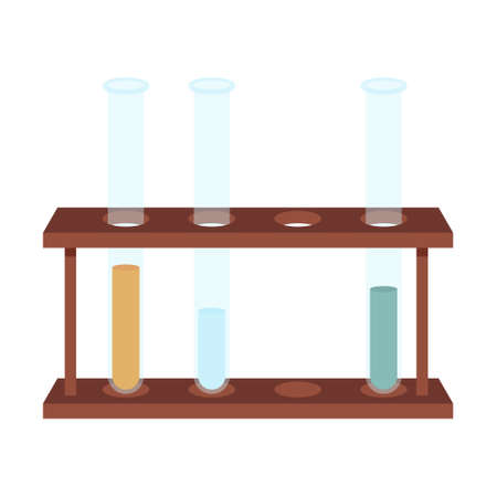 Test tubes for chemical experiments and analyses on a stand in a flat style. Medical inventory. Equipment for chemists. School equipment. Isolated on a white background. Color vector illustration