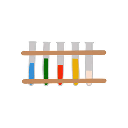 Test tubes for chemical experiments and analyses on a stand in a doodle style. medical inventory. Equipment for chemists. School equipment. Isolated on a white background. Color vector illustration Ilustração