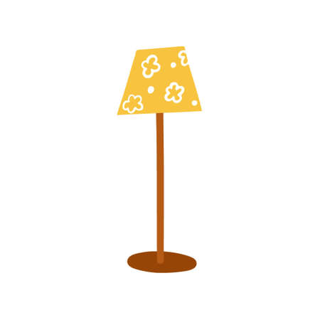 Floor lamp with a flower shade. Lighting device for the house.A simple, cute hand-drawn drawing. Hygge, a cozy home, comfort environment. Isolated on white. Color vector illustration.Doodle style