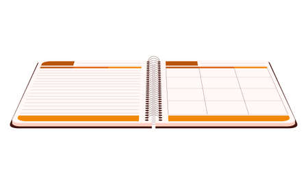 Open diary for writing in a flat style. School diary in perspective. Organizer, planner. Color vector illustration. Isolated on a white background 向量圖像