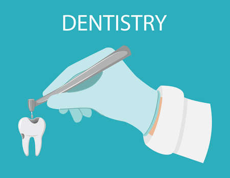 Dental treatment. A gloved hand holds a dental drill. Treatment of caries, drilling tooth. Professional appointment with the dentist. Tooth with a carious cavity.Oral hygiene. flat illustration