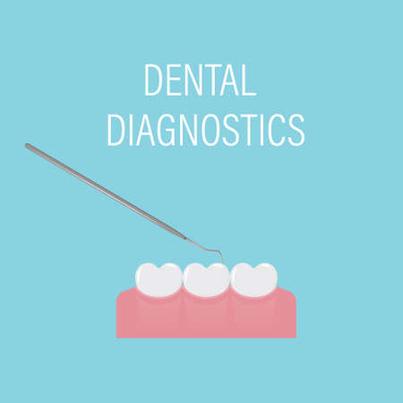 Dental examination of teeth with the medical tool. Professional preventive dental appointment. Simple white teeth in a row. Oral hygiene. Dental and oral care. Isolated flat vector illustration.