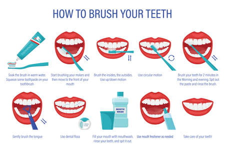 Cheme of how to brush your teeth.Step-by-step instructions. Oral hygiene. Healthy lifestyle and dental care.Order of actions with the description.Prevention of caries.Isolated flat vector illustration