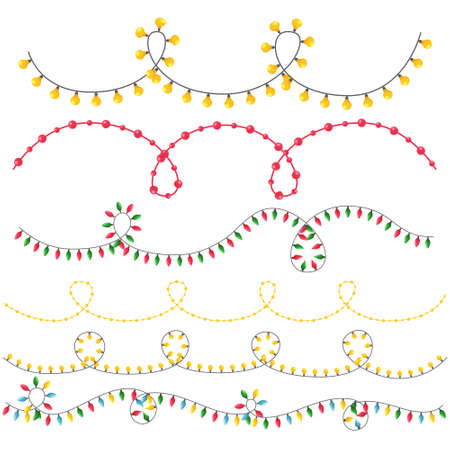 A set of different garlands in a flat style for decorating Christmas cards, invitations, leaflets, banners. Color vector illustration in flat style, isolated on a white background.