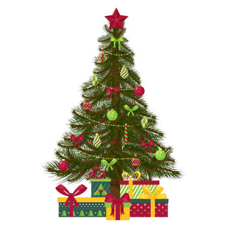Christmas tree decorated with Christmas tree toys, balls, beads and a star. Gift boxes under the tree. For greeting cards, flyers. Isolated on a white background. Vector illustration in flat style