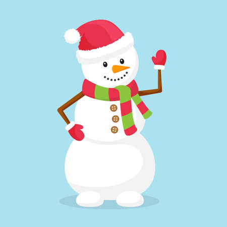 A snowman in a scarf, hat and mittens waves. Funny character. Element of Christmas and new years design. Vector illustration in flat style. Isolated on a blue background