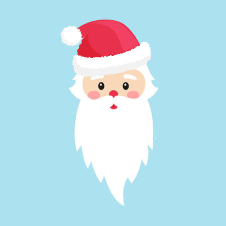 Head of Santa Claus in a hat. With a beard and mustache. Element of Christmas and new years design. Vector illustration in flat style. Isolated on a light background Illusztráció