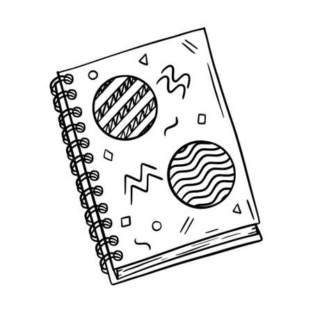 Sketch of a closed Notepad on a spiral for notes. Cover with abstract shapes. Stationery for writing and drawing. A design element for schools and Hobbies. Black-white vector. hand drawn, isolated.