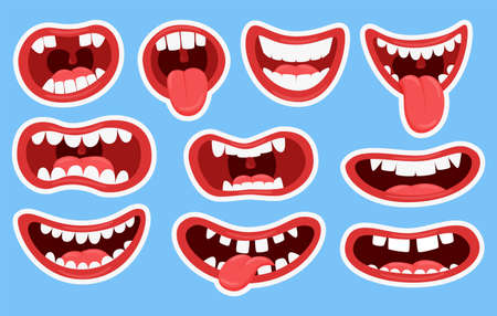 Variations of the mouths of monsters. Funny mouths with teeth and tongue sticking out. Set of stickers for different mouths. Children's color illustration. Vector elements isolated on a blue background Vettoriali