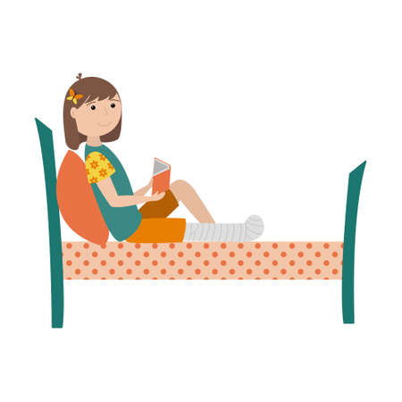 A girl with a broken leg is lying on the bed with a book in her hands. The leg is bandaged and fixed with a cast. Color illustration with children in a flat style. Isolated on a white background. 向量圖像
