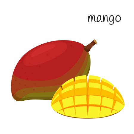 The mango is whole, and the half is nicely diced and turned out. Tropical, exotic fruit icon. Flat design. Color vector illustration isolated on a white background