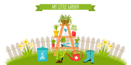 A set of garden tools, a stand for flowers with planters. on the background of the lawn and fence. Fertilizer, seedlings, rubber boots. Horizontal banner. Vector illustration in flat style. Ilustración de vector