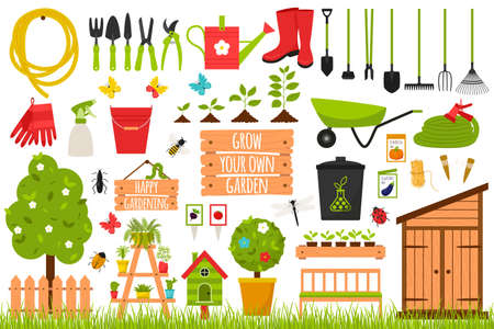 A large collection of garden tools, tools, wooden accessories, plants, insects. Gardening, growing plants. Design elements in a cartoon flat style. Color vector illustrations Isolated on a white