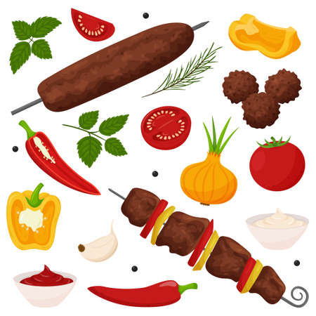 Shish kebab, lula kebab, meatballs. Set of Grilled meat dishes on the coals. Vegetables, sauce, spices, herbs. Ready-made meat food in a flat, cartoon style.Color vector illustration isolated on white