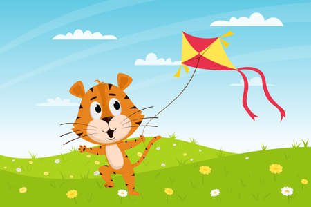 Cute cartoon tiger runs with a kite in the field. Summer landscape. The symbol of the year. Animal character. Color vector illustration for kids.Flat style. Vector Illustration