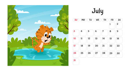 Horizontal desktop calendar page template for July 2022 with a cartoon tiger symbol of the Chinese year. The week starts on Sunday. Tiger jumps in the lake, swims.