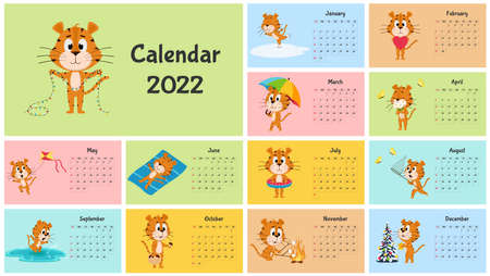 Vertical Wall Calendar Template 2022. Week starts on Sunday. Ready-to-print calendar with Chinese year symbol cartoon Tiger. A set of 12 pages and a cover. All months.Multi-colored background.
