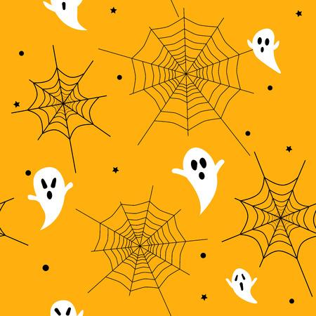 Halloween seamless pattern with ghosts and spider webs. Vector illustration. Ilustração