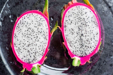 glass plate: Dragon fruit on the glass plate