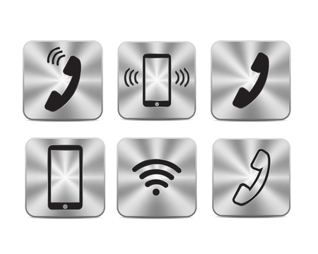 telephone handset: Metallic steel communication icons with symbol wi-fi tablet and telephone handset Illustration