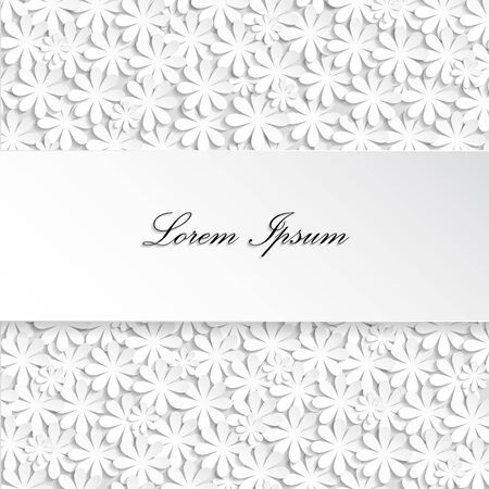 textbox: Paper texture white wedding floral background with shadow and textbox Stock Photo