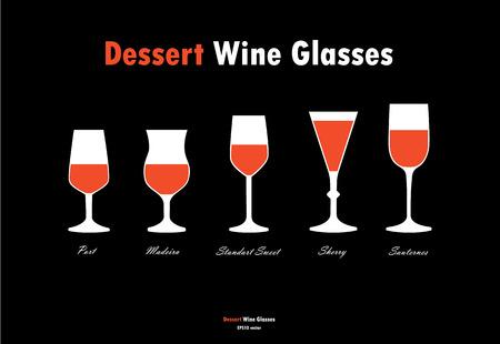 sherry: Desser wine glass silhouettes vector, orange white on black background Illustration