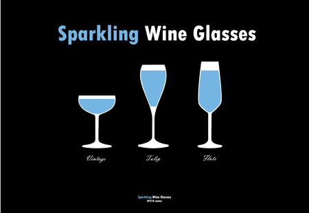 sparkling wine: Sparkling wine glass silhouettes vector, blue white on black background