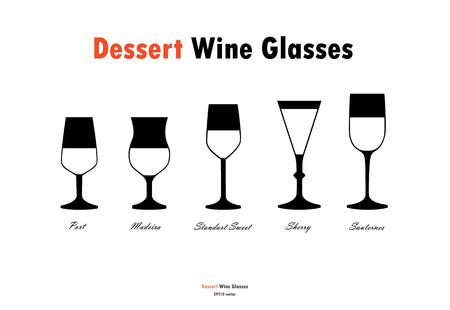 Dessert wine glass silhouettes vector, black white on white background Illustration