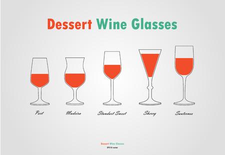 Desser wine glass silhouettes vector, orange white on gray background