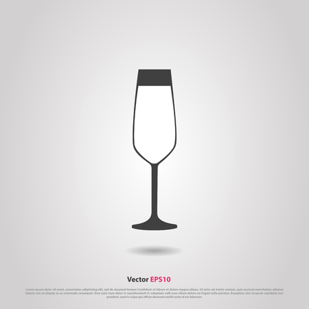 hock: Glass of sparkling flute wine silhouette icon Illustration