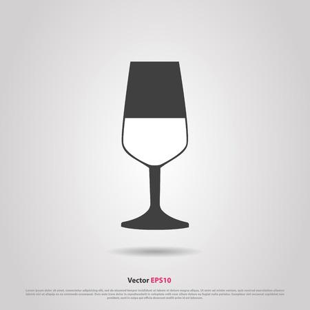 Glass of red cabernet sauvignon  wine silhouette icon Illustration