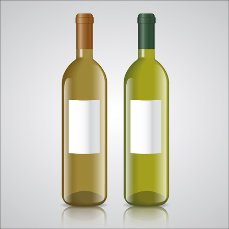 cabernet sauvignon: Three bottles of white and red wine with labels with mirror shadow