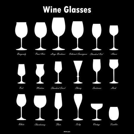 Wine glass white silhouettes vector set on black background Illustration