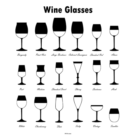 hock: Wine glass silhouettes vector set on white background