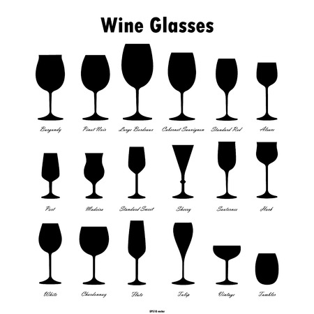 Wine glass silhouettes vector set on white background