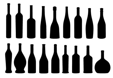 chianti: Wine bottle black silhouette icon vector collection