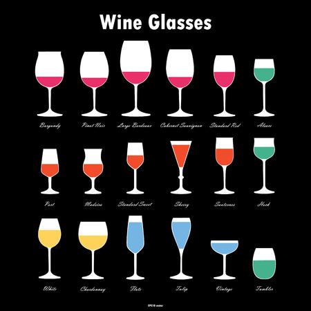sagome di vetro del vino di vettore impostato su sfondo bianco
