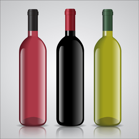 chardonnay: Three bottles of white and red wine with labels with mirror shadow