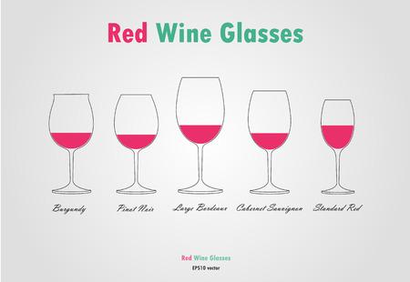 El vino tinto vector de siluetas de vidrio sobre fondo gris