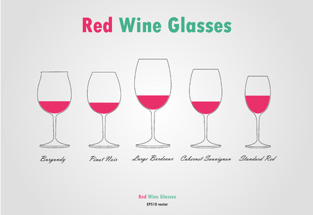 red wine glass: Red wine glass silhouettes vector on gray background