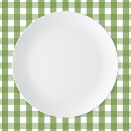 dinner plate: Ceramic circle white plate with green checkered tablecloth Illustration