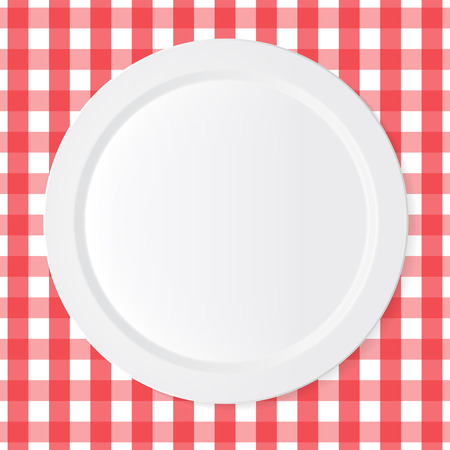 grunge flatware: Ceramic circle white plate with red checkered tablecloth