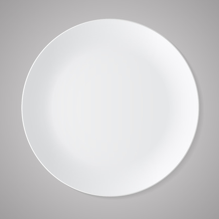 Ceramic circle white plate with gray tablecloth