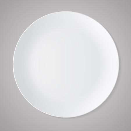 Keramik Kreis weißen Platte mit grauen Tischdecke